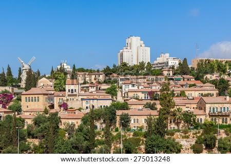 View of Yemin Moshe old neighborhood in Jerusalem, Israel. - stock photo
