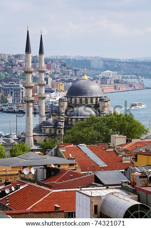 View of Yeni Mosque, districts Eminonu and Beyoglu and the Bosphorus in Istanbul, Turkey