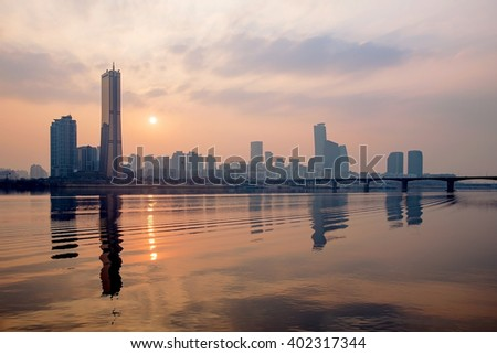 View of Yeouido financial district in Seoul during sunset