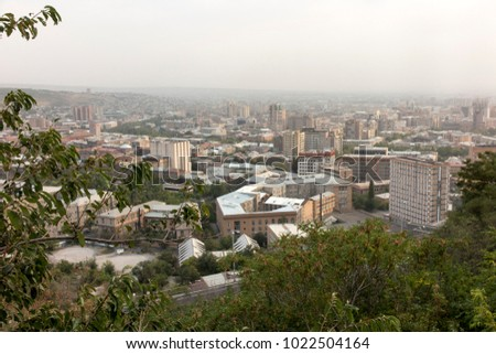 View of Yerevan, the capital of Armenia in slightly misty weather