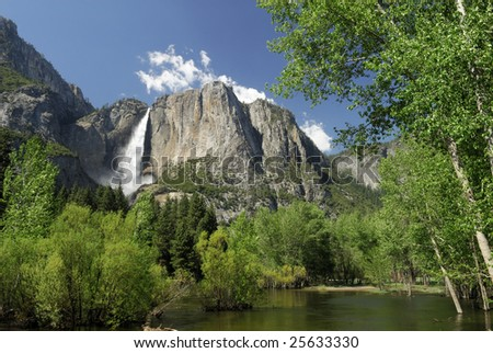 View of Yosemite Falls in Spring
