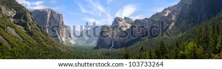 View of Yosemite Valley from Tunnel View point. Bridal veil falls, El Capitan and Half Dome can be seen. - stock photo