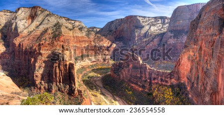 View of Zion Canyon from Angels Landing,in Zion National Park, Utah. - stock photo