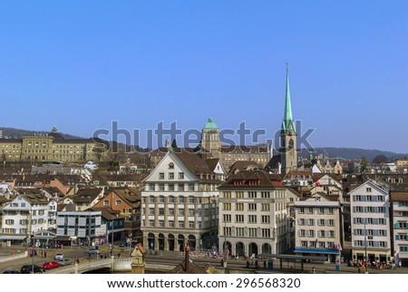 View of Zurich from the Lindenhof hill, Switzerland - stock photo