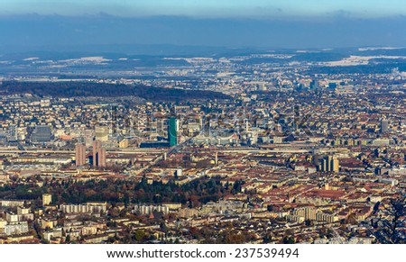 View of Zurich from Uetliberg mountain - Switzerland - stock photo