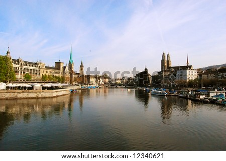 View of Zurich town center and river Limmat, Switzerland - stock photo
