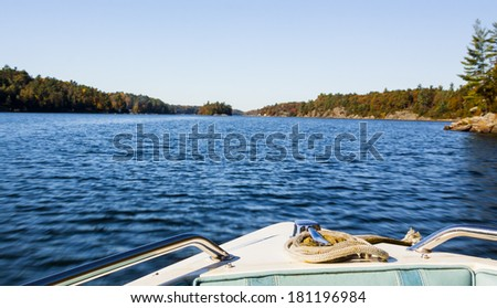 View off the Front of a Small Boat - stock photo
