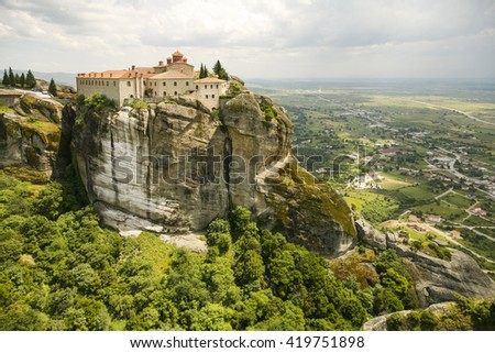 View og St. Stephen's Convent in Meteora, Greece - stock photo