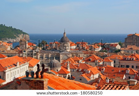 View Old town of Dubrovnik, Croatia with the Adriatic Sea. - stock photo