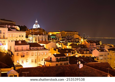 View Old Town of Lisbon at night. Portugal - stock photo
