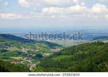 View on a beautiful and romantic Black Forest panorama towards the River Rhine - stock photo