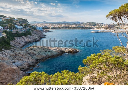 View on a beautiful Mediterranean bay at the Spanish Costa Brava in the Catalonia region close to Barcelona