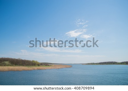 view on a blue spring lake