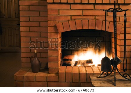 View on a fireplace - stock photo