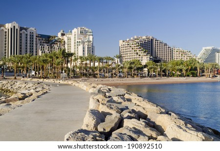 View on a public beach in Eilat, Israel - stock photo