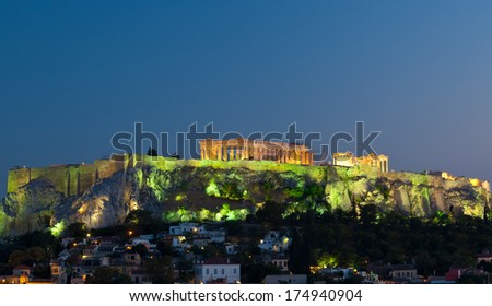 View on Acropolis at night, Athens, Greece.