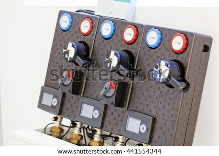 View on advanced industrial control panel with switches, new technology