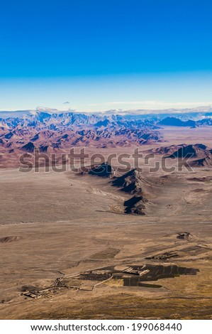 View on afghan mountains from height of the helicopter - stock photo