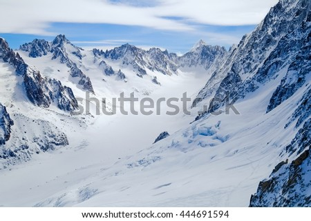 View on Aiguille de Grand Montets in winter, Mont Blanc, Argentiere, France