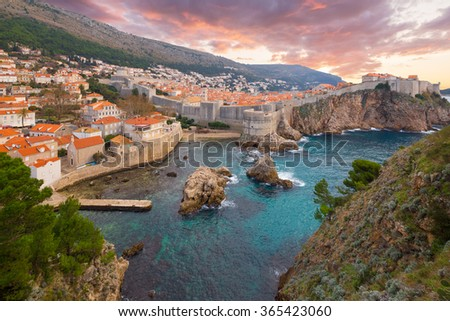 View on ancient castle in Dubrovnik. Croatia. - stock photo
