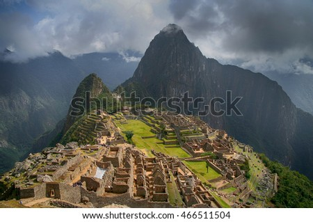 View on ancient inca town of Machu Picchu in peruvian Andes