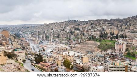 view on  ancient Roman theater in Amman , Jordan - stock photo