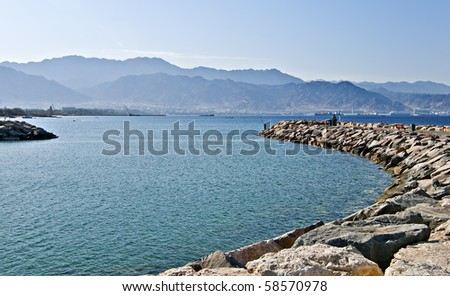 view on Aqaba city from the dam of northern beach of Eilat