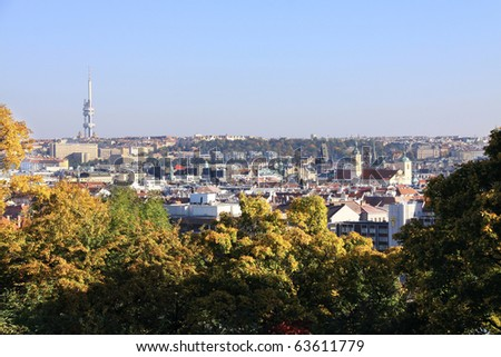 View on autumn Prague City above River Vltava