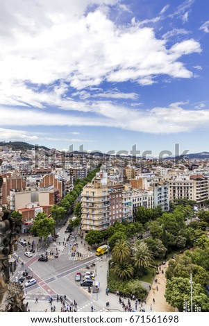 view on avenue de gaudi and plaa de gaudi from above