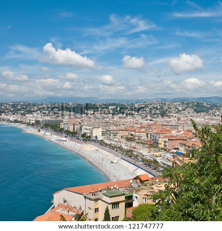 View on Azure coast in Nice, France