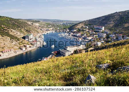 View on Balaklava Bay from the hill. Crimea. - stock photo
