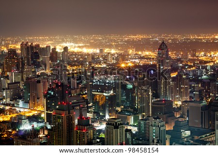 View on Bangkok skyscrapers at night - stock photo