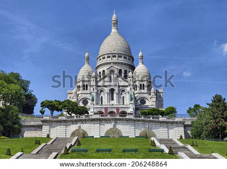 View on basilica of the Sacred Heart, Paris, France  - stock photo