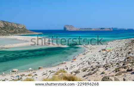 View on beautiful Balos beach on Crete island, Greece