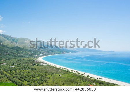 View on beautiful beach from the top of mountain. Albania. - stock photo