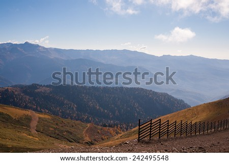 View on beautiful Caucasus mountains in Krasnodar Krai in autumn - stock photo