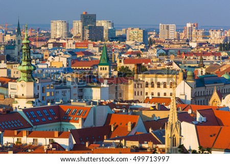 View on beautiful old town in Bratislava at the sunset,capital city of Slovakia,Bratislava,Slovakia