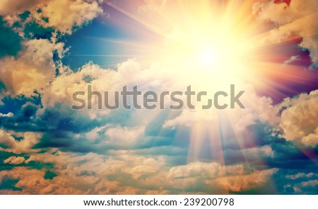 view on beautiful sun in blue cloudy sky instagram stile instagram stile - stock photo