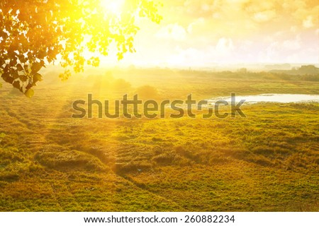 view on beautiful sunrise field in morning with mist  - stock photo