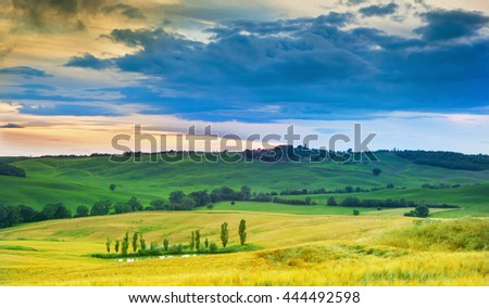 View on beautiful Tuscany landscape at the sunset,Italy