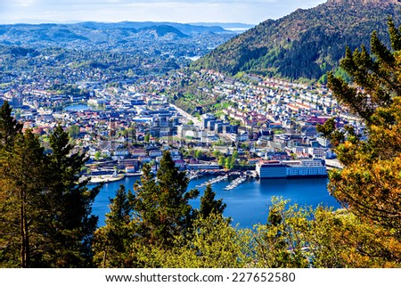 View on Bergen and lake from the mountain top - stock photo