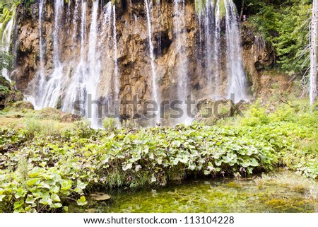 View on big and beauty waterfall in Plitvice lakes, Croatia. - stock photo