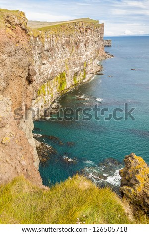View on big cliffs on Latrabjarg - Iceland. - stock photo