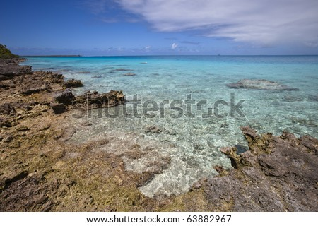 View on blue lagoon and reef of a paradise island - stock photo