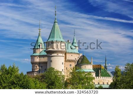 View on Bojnice castle(1113) UNESCO,Slovakia - stock photo
