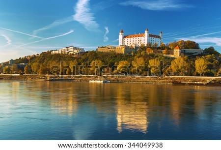 View on Bratislava castle and river Danube in autumn,Slovakia - stock photo