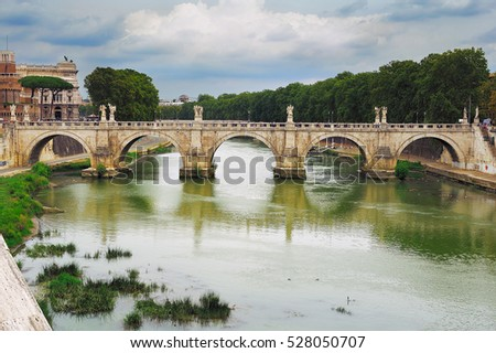 View on Bridge of Saint Angel (Ponte Sant Angelo), Rome, Italy