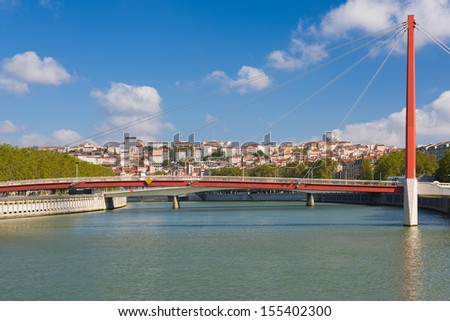 View on Bridge of the Palace of Justice in Lyon in France - stock photo