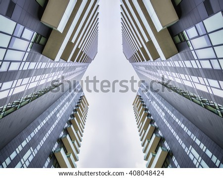 View on buildings facade in sunlight - stock photo