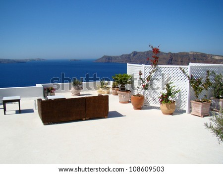 View on caldera from relax point, Santorini, Greece